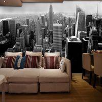 5d黑白纽约城市街景墙纸客厅卧室电视背景墙KTV酒吧无缝大型壁画
