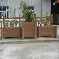 山东中达景观园林厂家定制美观水泥仿木花箱 种植户外防腐木花箱