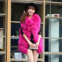 反季促销 狐狸毛皮草马甲女整皮外套中长款圆领 新款韩版无袖斜