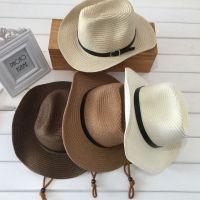 防晒夏天男士可折叠牛仔帽户外遮阳帽太阳帽沙滩帽子大檐韩版草帽