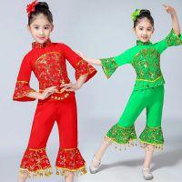 新款幼儿演出服装女童喜庆民族舞秧歌舞表演服儿童元旦舞蹈服红绿