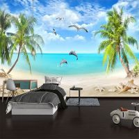 海滩椰树墙纸地中海风格客厅沙发电视背景墙壁纸定制无缝大型壁画