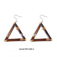 复古风几何形状三角形竹木藤耳环 diy手工制作竹耳坠