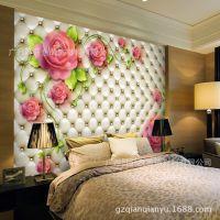 婚房温馨浪漫电视背景墙纸壁纸大型壁画卧室床头背景3d立体无缝