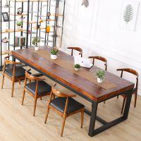 桌椅工业 长条写字办公桌铁艺电脑桌 会议风桌子实木双人台式简约