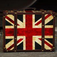 JFJS复古国旗手提欧式木箱道具旅行箱咖啡屋橱窗拍摄道具装饰木质