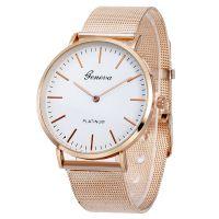 外贸爆款日内瓦不锈钢网带手表 超薄石英Geneva男士女士石英手表