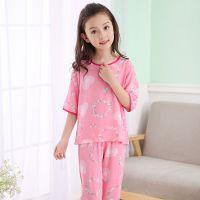 儿童睡衣夏季宝宝绵绸女童中大童棉绸家居服小孩空调服套装7分袖