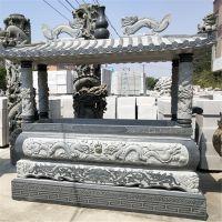厂家直销 长方形龙柱青石香炉寺庙佛堂烧香用品雕塑摆件 佛教四足鼎