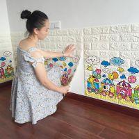 自粘客厅防水防撞背景墙3d砖纹墙贴软包墙纸卧室装饰翻新水泥牆貼