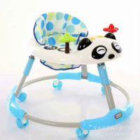 新款儿童学步车幼儿助步车防侧翻多功能熊猫头型可折叠圆形手推车
