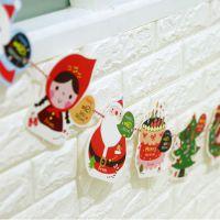 小马百货 韩国文具批发 新款 圣诞系列纸三角彩旗 装饰品拉花