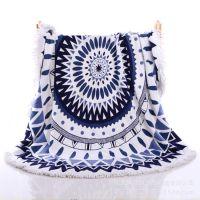厂家直销定制圆形沙滩巾 创意流苏印花浴巾超细纤沙滩巾特价