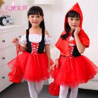 新款小红帽舞台装万圣节儿童女服装万圣节服装圣诞节公主裙演出服