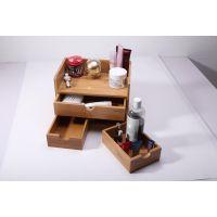 竹质韩国化妆品收纳盒首饰盒 多功能办公桌面整理箱 三抽屉储物箱