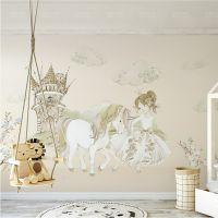批发无缝壁画墙纸小公主与独角马城堡童话儿童房背景墙布环保装饰