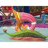 山东水上乐园设备儿童玻璃钢戏水小品喷水喇叭虫