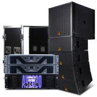 狮乐舞台音响系统 大型演唱会用大功率线阵音箱木制 户外大型活动音响系统 功放+线阵套装+机柜(单边)