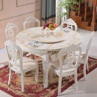 欧式餐桌椅组合6人大理石实木长方形伸缩圆桌折叠法式小户型家具