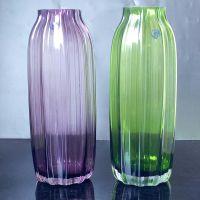 【珀霜】现代简约竖条纹透明彩色玻璃花瓶创意水培玻璃器皿批发