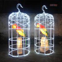 LED鸟笼灯饰 中秋LED鸟笼鹦鹉灯饰 户外LED鸟笼灯饰 中秋灯饰灯会