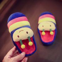 棉拖鞋批发卡通毛毛虫拼色儿童棉拖家居韩版可爱包跟拖鞋一件代发