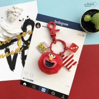 芝麻街钥匙扣可爱卡通女韩国红色艾摩公仔毛绒书包毛球包包挂件