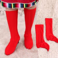 民族舞蹈靴套 藏族舞蒙古舞蹈舞台演出女式红色弹力加长筒靴套