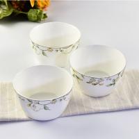 唐山亿美批发批发陶瓷餐具碗盘碟 4.5寸家用骨瓷米饭碗日式方碗礼品面碗定制