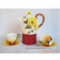【欧式】专业供应精制陶瓷咖啡壶 彩绘浮雕多种花卉咖啡壶 咖啡壶