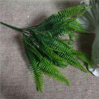 厂家批发仿真波斯草假草插花材料阳台室内装饰热带植物7叉波斯叶