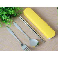 创意不锈钢便携餐具三件套、 圆勺叉子筷子户外餐具 、节日礼品赠品批发
