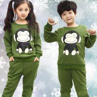 2018秋冬季加绒儿童休闲童套装工厂直销批发中小童圆领卫衣两件套