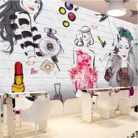 3D立体手绘壁画砖墙美女无缝无纺布壁纸美容店化妆品店背景墙墙布