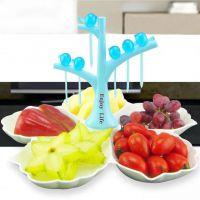 布谷鸟水果盘创意糖果盘环保塑料水果盘带牙签