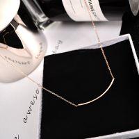 日韩版极简约夏季百搭14k镀金玫瑰金钛钢项链女短款锁骨链潮饰品