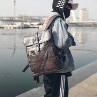 双肩包韩版男士皮质休闲时尚潮流大学生书包青年简约旅行电脑背包