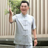 老人改良款老爷爷中国风唐装男装套装老头中老年新款衣服中老年人