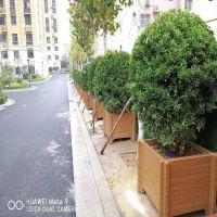 定制预制混凝土仿木花箱 水泥仿木圆形花桶,仿腐木花箱坚固美观价格便宜