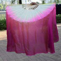 六月清荷舞蹈扇子秧歌扇 优质时尚彩扇双面渐变加长咏荷扇子