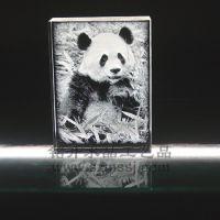 动物园纪念品,大熊猫老虎水晶内雕摆件,深圳铭升工艺定制