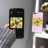 韩国可爱卡通欢快大口仔苹果x 6splus全包软边闪粉手机壳潮情侣款