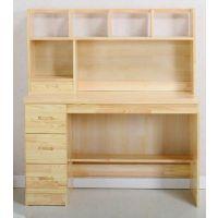 包邮写字台实木电脑桌带书架柜组合 台式松木家用写字台书桌