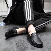 2018新款男士纯色休闲皮鞋 青年百搭豆豆潮鞋 低帮平跟皮鞋现货