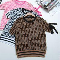 18夏季新款女装重手工挑空提花字母袖绑带蝴蝶结曲珠冰丝针织T恤