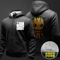 外贸新款印花银河护卫队 格鲁特 树精 Groot加绒加厚男士卫衣