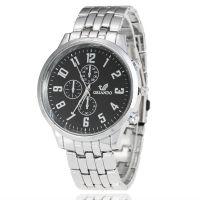 手表厂家批发礼品表爆款商务男士钢带手表假三眼六针石英表