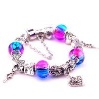供应琉璃珠手环 合金挂件手链