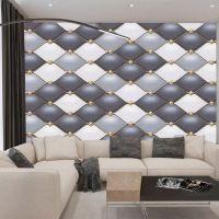现代简约金色几何菱形软包电视背景壁纸床头沙发壁画3D个性墙布