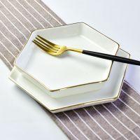 达美直销 餐饮业骨瓷专用六角汤盘 批发定制酒店优质陶瓷餐具